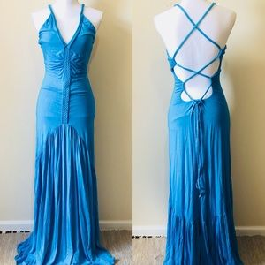 Sky Teal Blue Lace Up Back Mermaid Maxi Dress